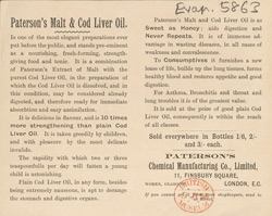 Advert for Paterson's Malt & Cod Liver Oil